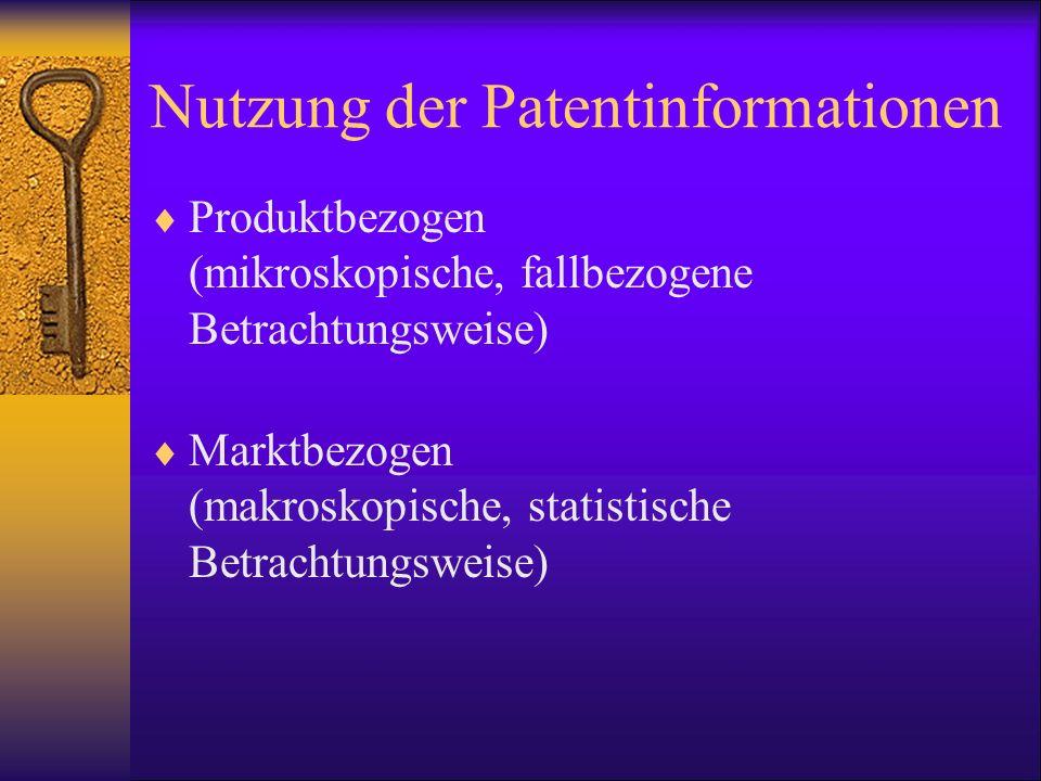 Nutzung der Patentinformationen