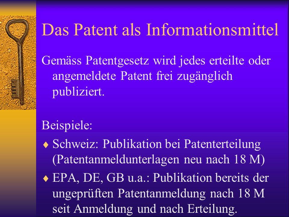Das Patent als Informationsmittel