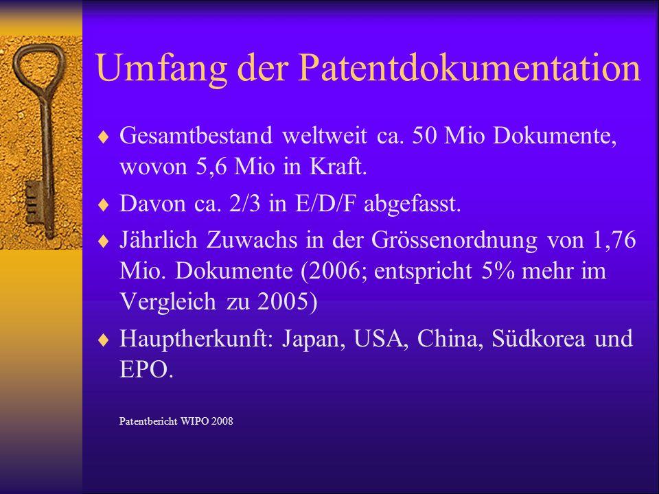 Umfang der Patentdokumentation