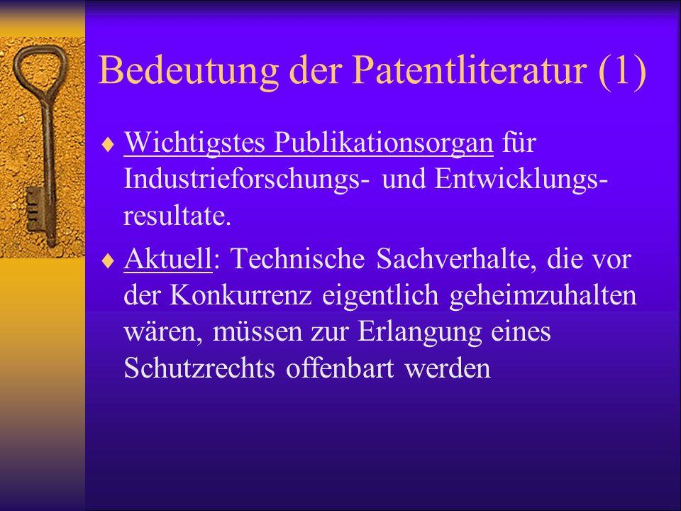 Bedeutung der Patentliteratur (1)