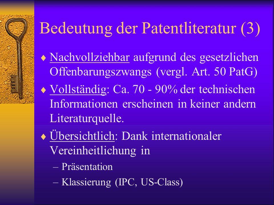 Bedeutung der Patentliteratur (3)