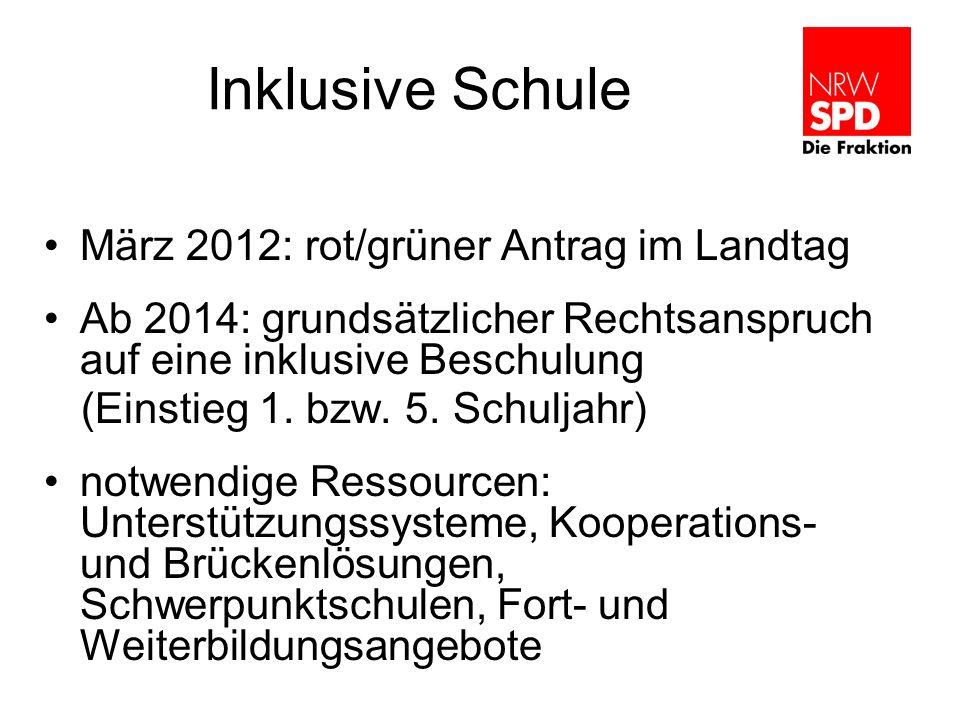 Inklusive Schule März 2012: rot/grüner Antrag im Landtag