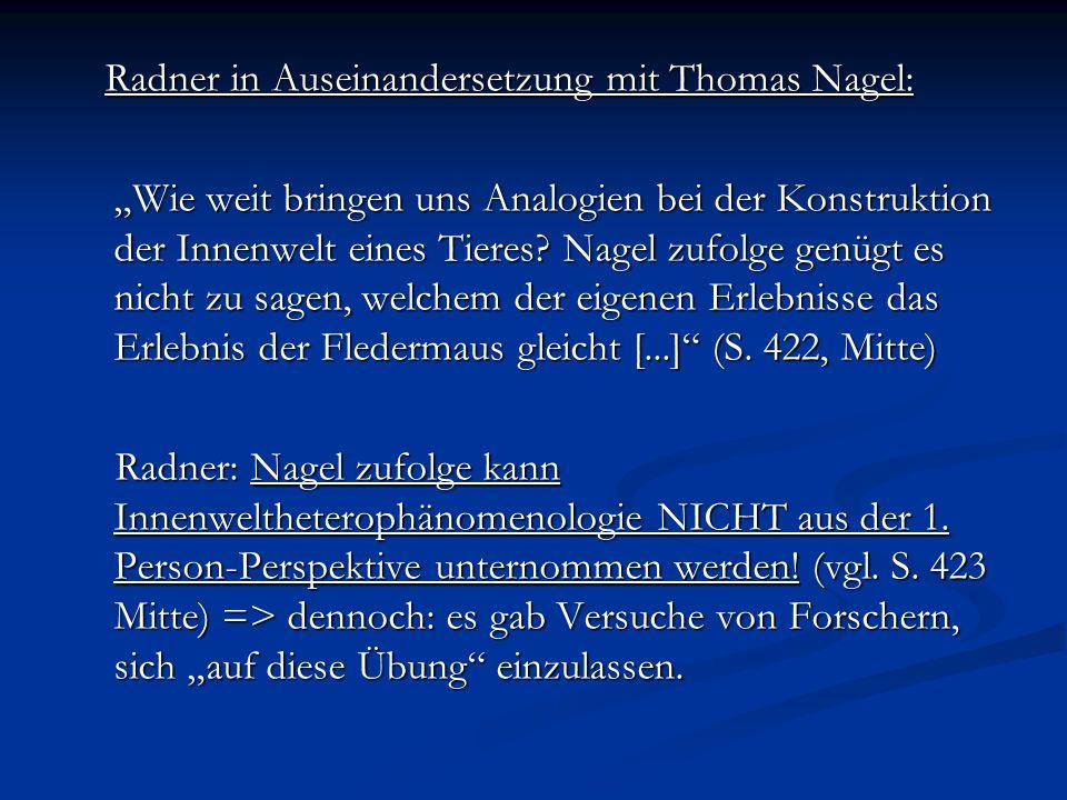 Radner in Auseinandersetzung mit Thomas Nagel: