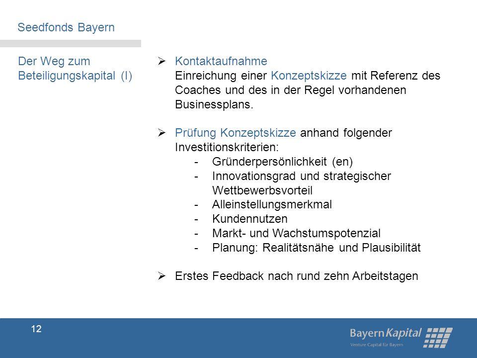 Seedfonds Bayern Der Weg zum Beteiligungskapital (I)