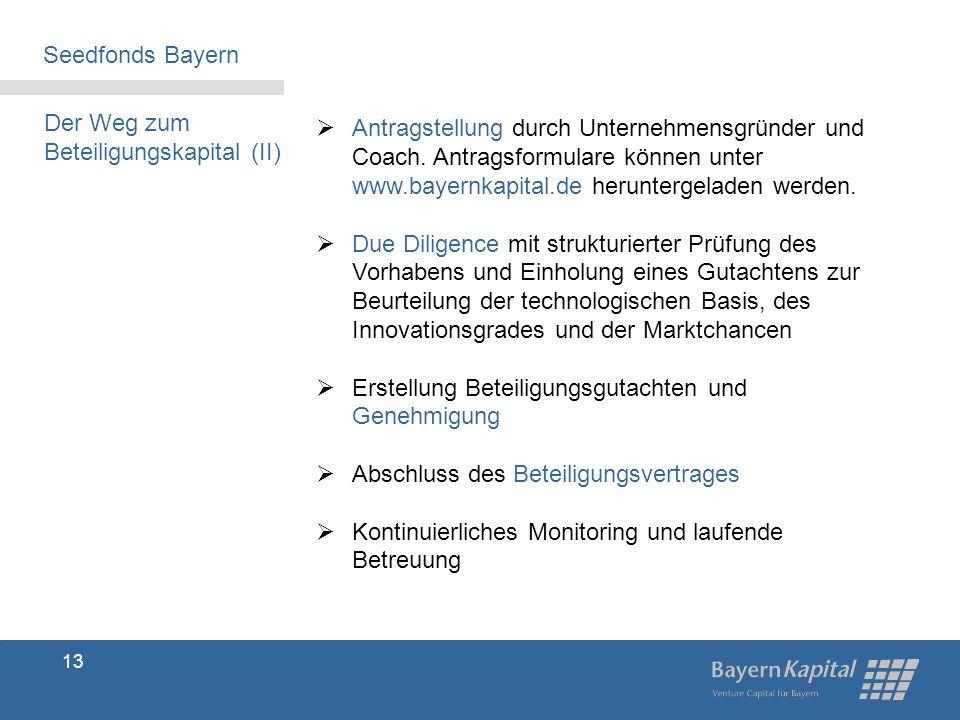 Seedfonds Bayern Der Weg zum. Beteiligungskapital (II)