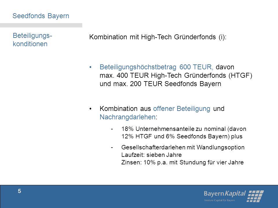 Beteiligungs-konditionen Kombination mit High-Tech Gründerfonds (i):