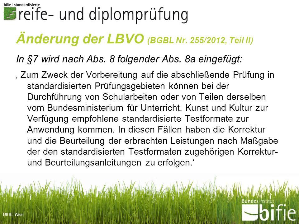 Änderung der LBVO (BGBL Nr. 255/2012, Teil II)