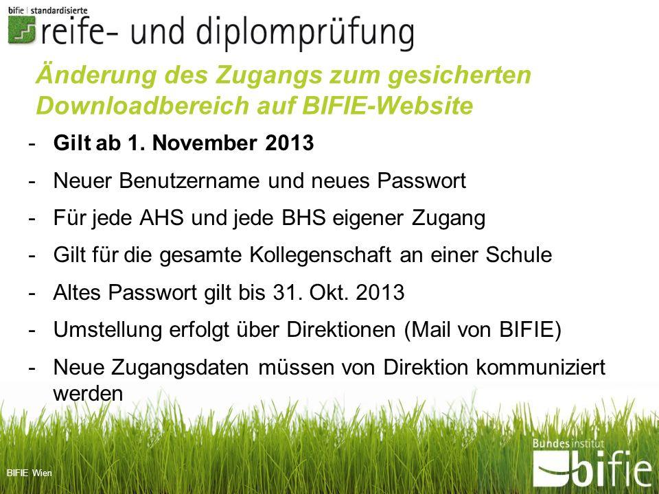Änderung des Zugangs zum gesicherten Downloadbereich auf BIFIE-Website
