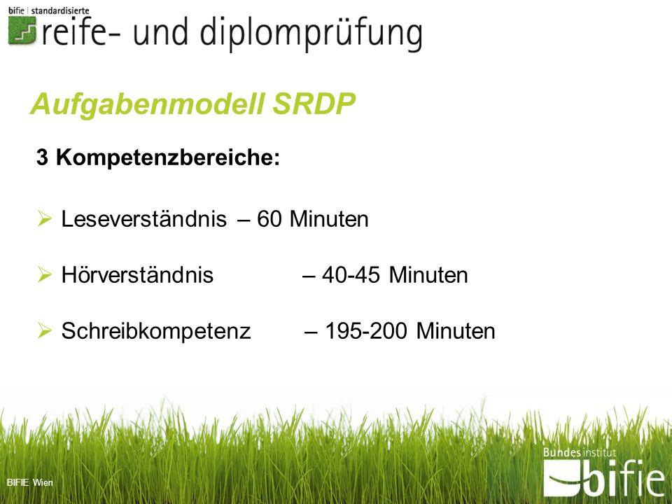 Aufgabenmodell SRDP 3 Kompetenzbereiche: Leseverständnis – 60 Minuten