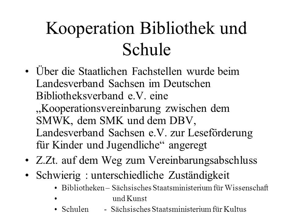 Kooperation Bibliothek und Schule