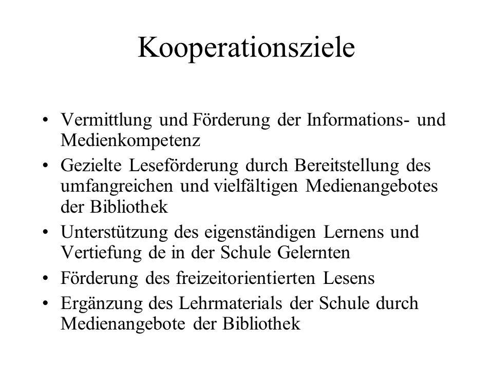 Kooperationsziele Vermittlung und Förderung der Informations- und Medienkompetenz.