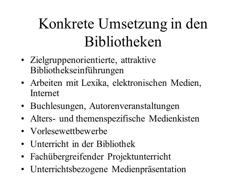 Konkrete Umsetzung in den Bibliotheken
