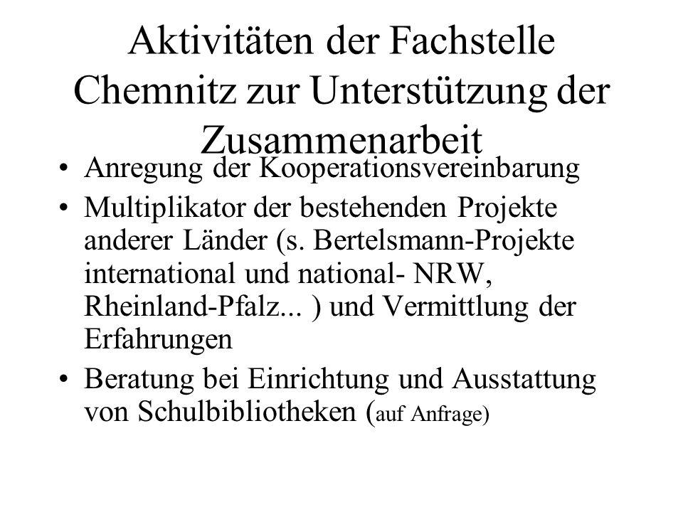 Aktivitäten der Fachstelle Chemnitz zur Unterstützung der Zusammenarbeit