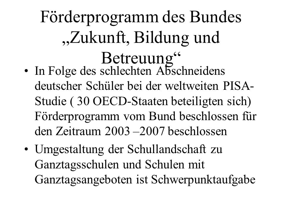 """Förderprogramm des Bundes """"Zukunft, Bildung und Betreuung"""