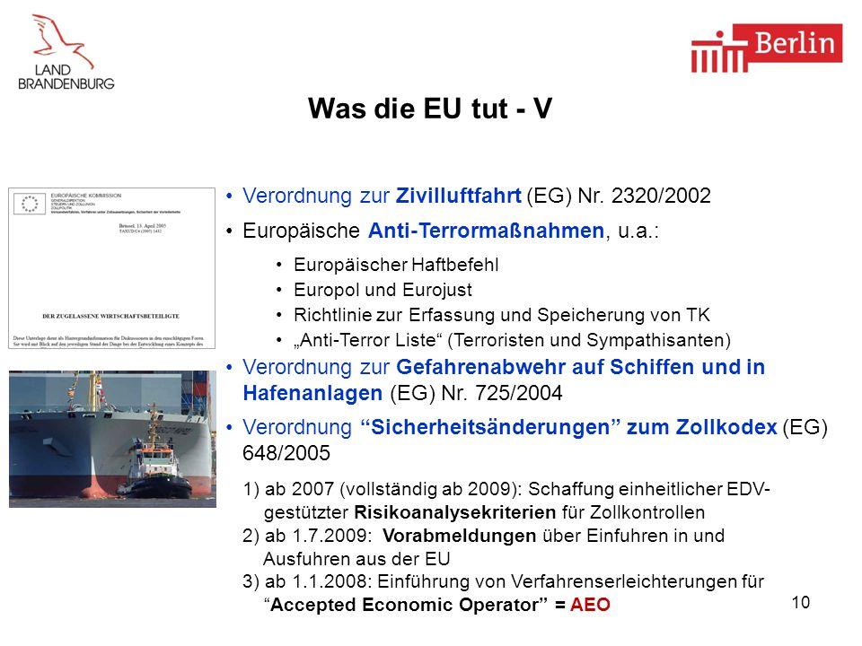 Was die EU tut - V Verordnung zur Zivilluftfahrt (EG) Nr. 2320/2002
