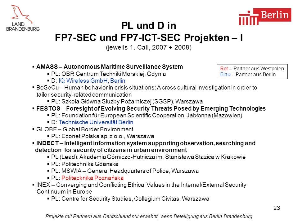 FP7-SEC und FP7-ICT-SEC Projekten – I