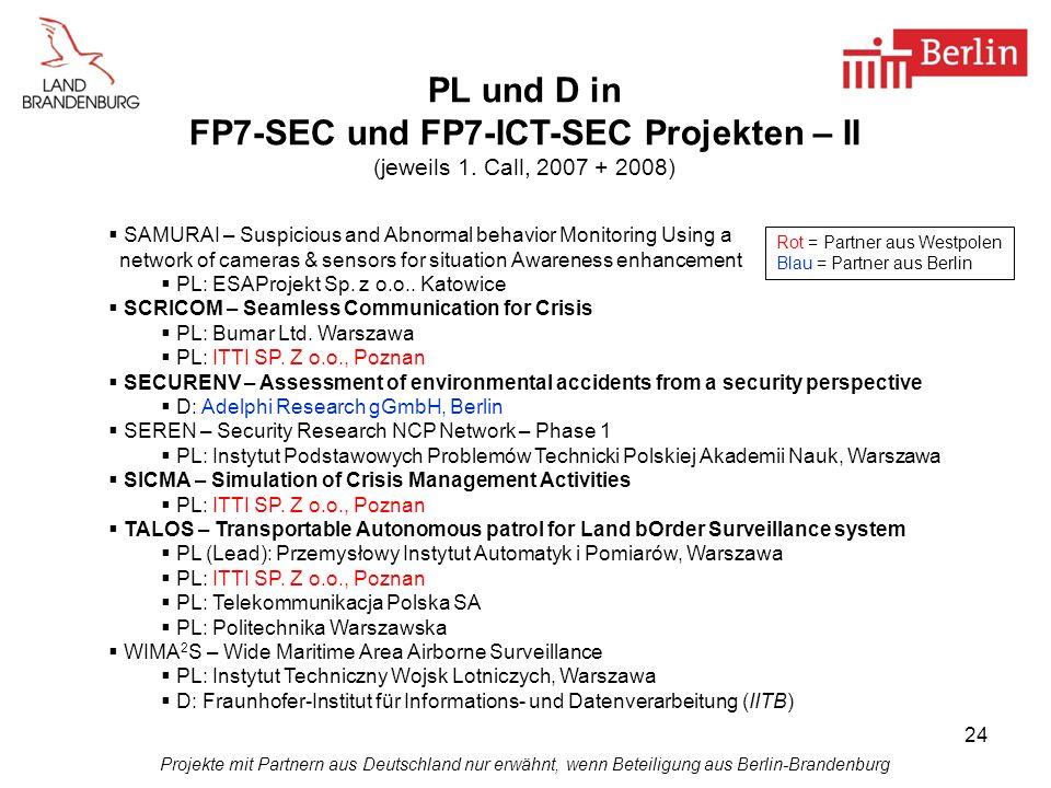 FP7-SEC und FP7-ICT-SEC Projekten – II