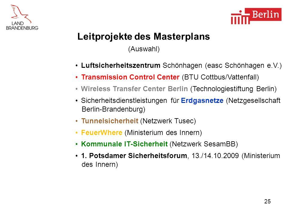 Leitprojekte des Masterplans (Auswahl)