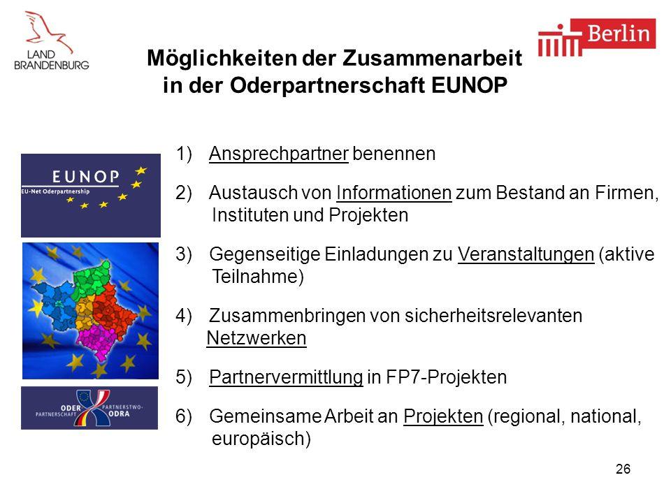 Möglichkeiten der Zusammenarbeit in der Oderpartnerschaft EUNOP
