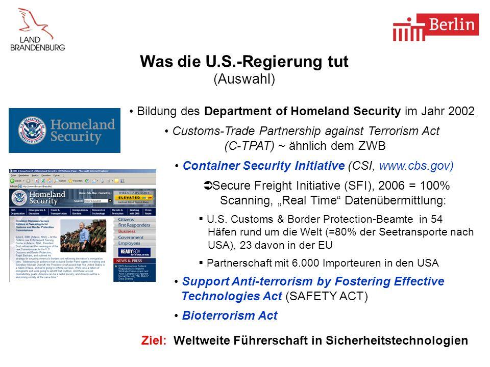 Was die U.S.-Regierung tut (Auswahl)