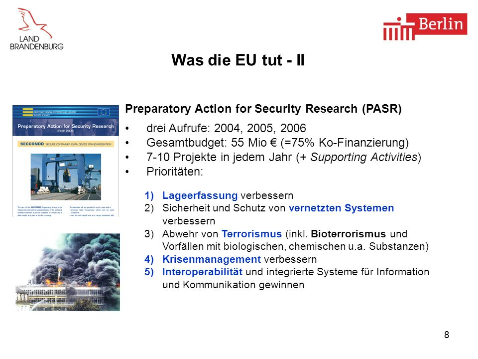 Was die EU tut - II Preparatory Action for Security Research (PASR)