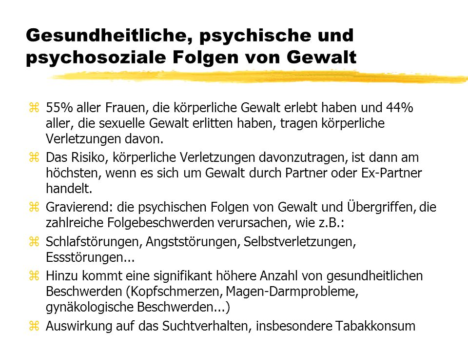 Gesundheitliche, psychische und psychosoziale Folgen von Gewalt