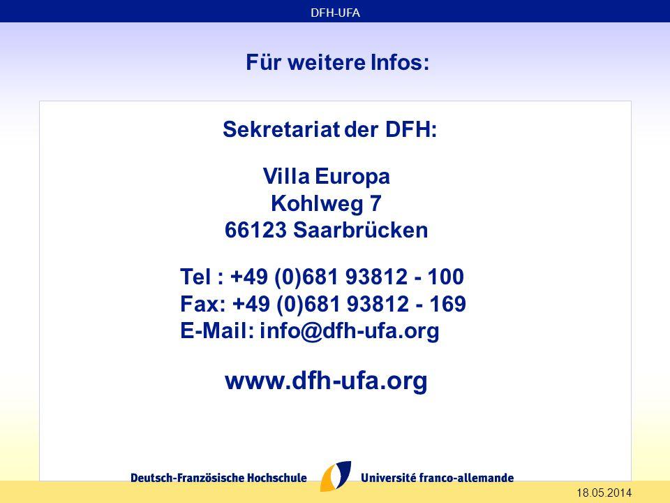 www.dfh-ufa.org Für weitere Infos: Sekretariat der DFH: Villa Europa