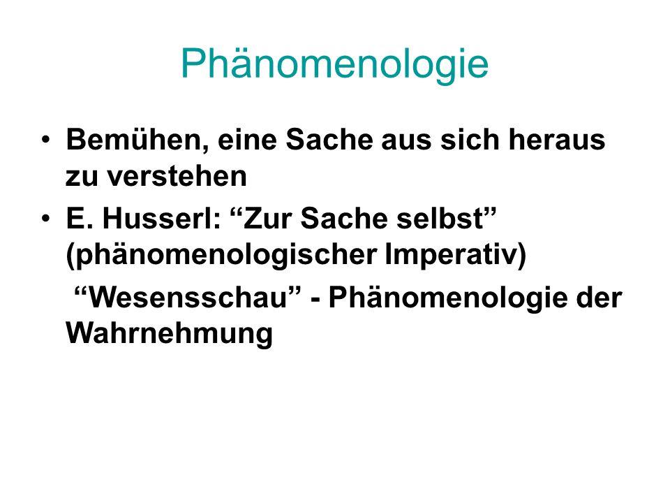 Phänomenologie Bemühen, eine Sache aus sich heraus zu verstehen