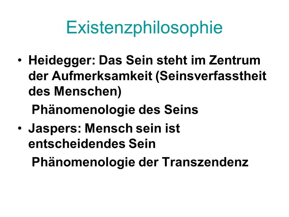 Existenzphilosophie Heidegger: Das Sein steht im Zentrum der Aufmerksamkeit (Seinsverfasstheit des Menschen)