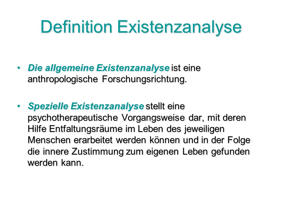 Definition Existenzanalyse