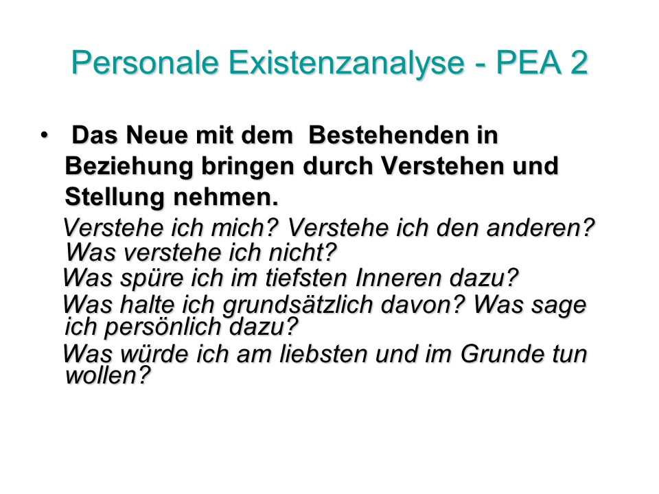Personale Existenzanalyse - PEA 2