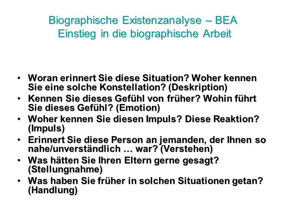 Biographische Existenzanalyse – BEA Einstieg in die biographische Arbeit