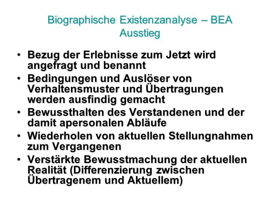 Biographische Existenzanalyse – BEA Ausstieg