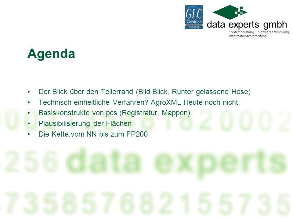 Agenda Der Blick über den Tellerrand (Bild Blick. Runter gelassene Hose) Technisch einheitliche Verfahren AgroXML Heute noch nicht.