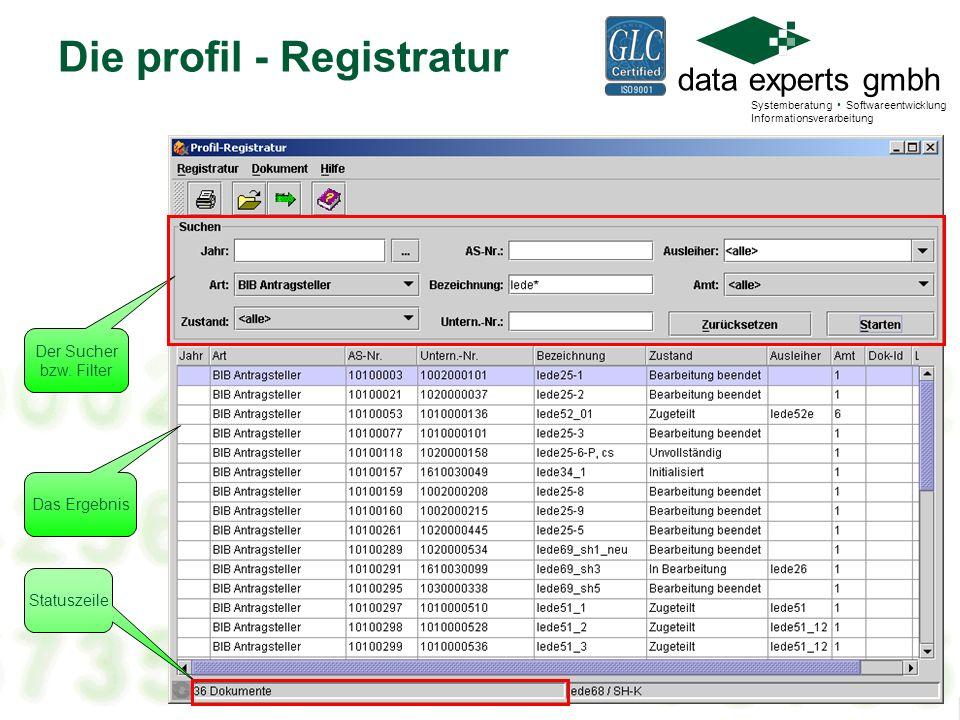 Die profil - Registratur