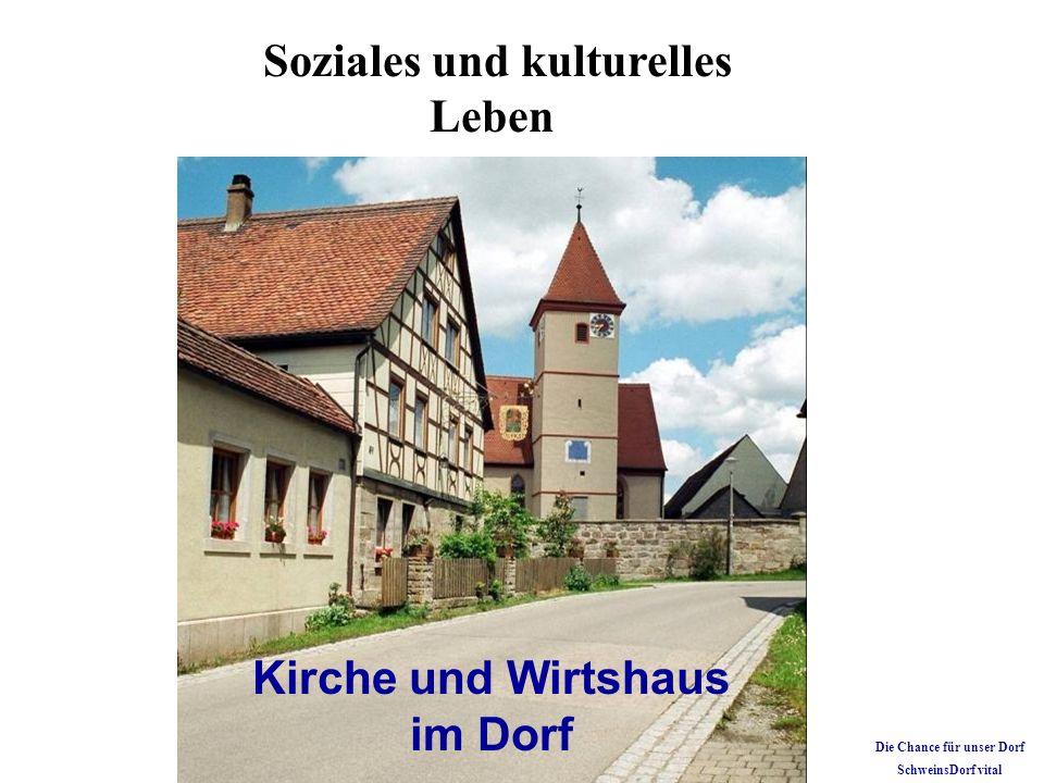 Kirche und Wirtshaus im Dorf