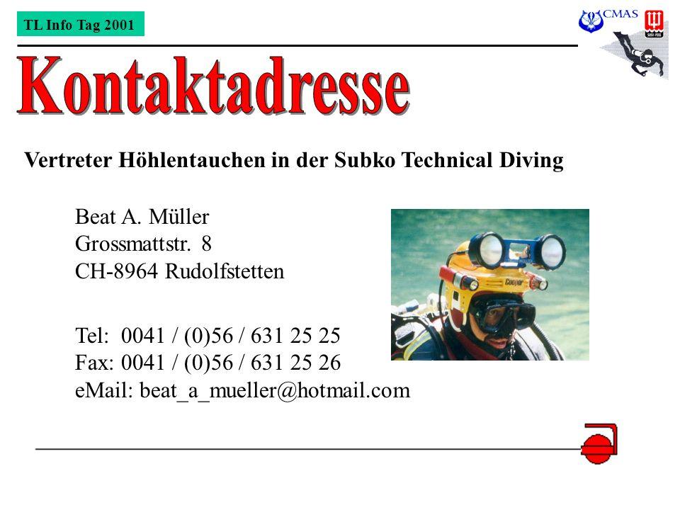 Kontaktadresse Vertreter Höhlentauchen in der Subko Technical Diving