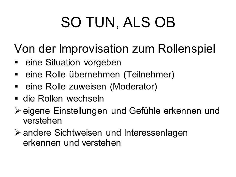 SO TUN, ALS OB Von der Improvisation zum Rollenspiel