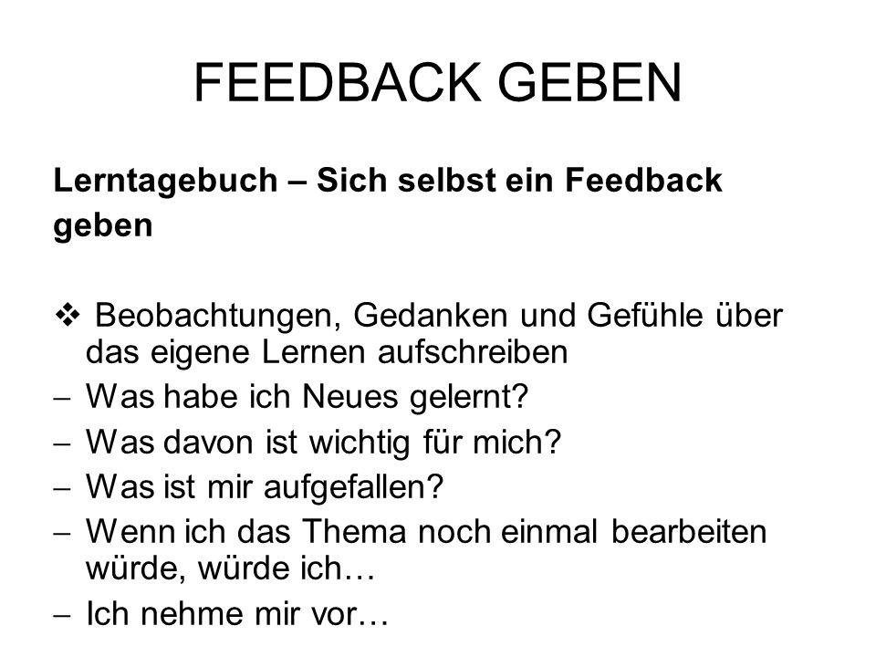 FEEDBACK GEBEN Lerntagebuch – Sich selbst ein Feedback geben