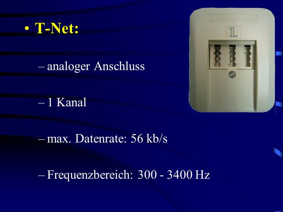T-Net: analoger Anschluss 1 Kanal max. Datenrate: 56 kb/s