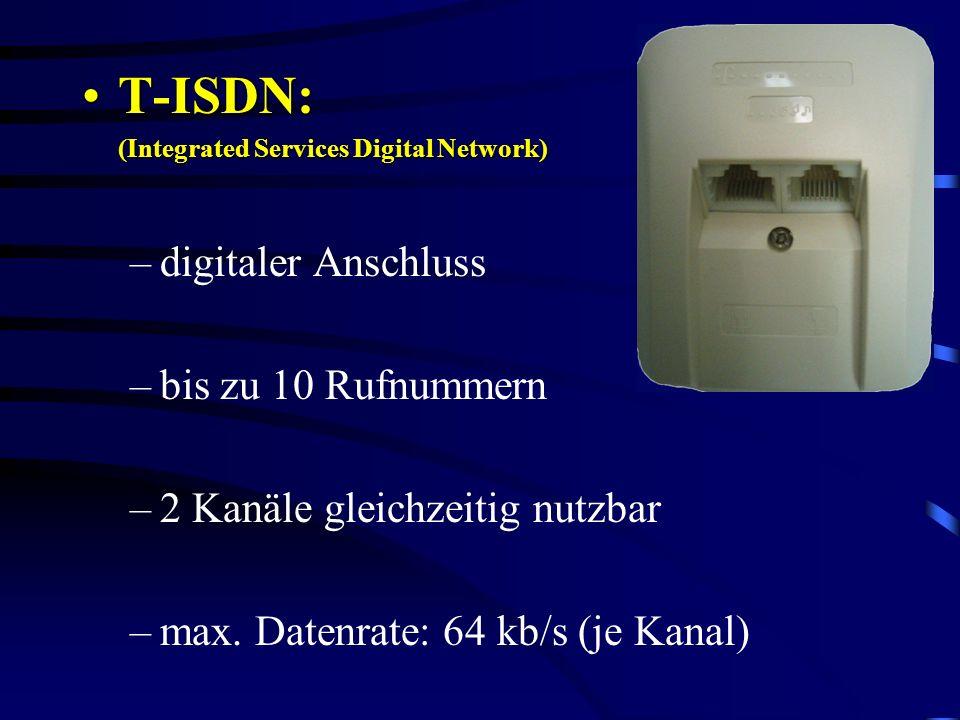T-ISDN: digitaler Anschluss bis zu 10 Rufnummern