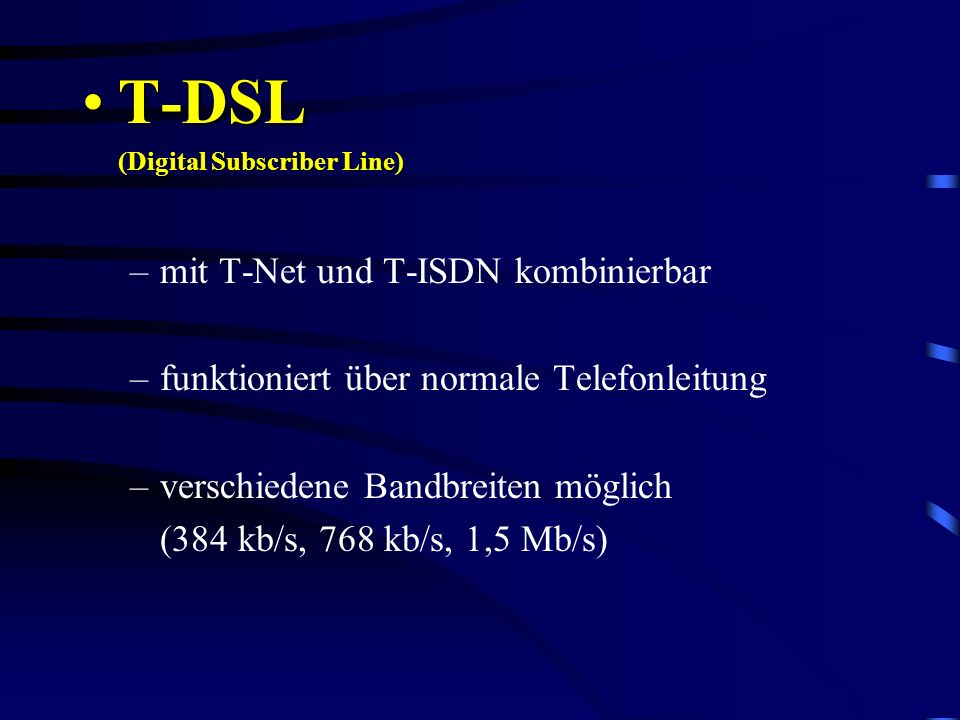 T-DSL mit T-Net und T-ISDN kombinierbar