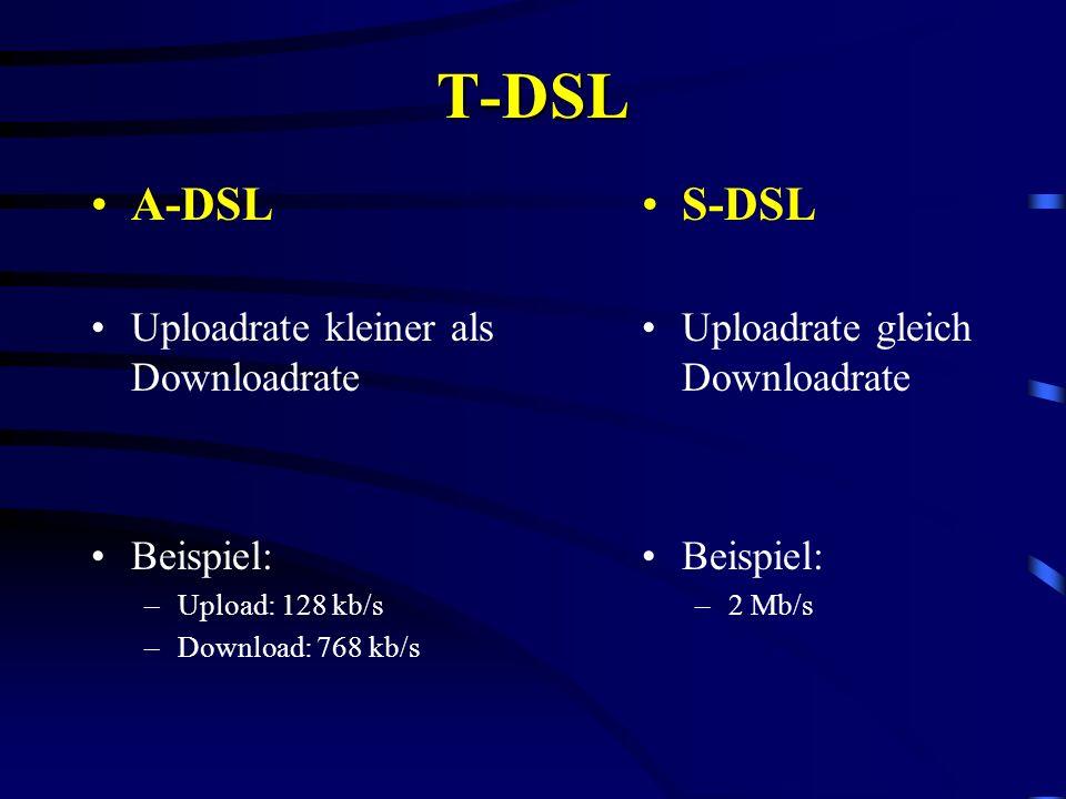 T-DSL A-DSL S-DSL Uploadrate kleiner als Downloadrate Beispiel: