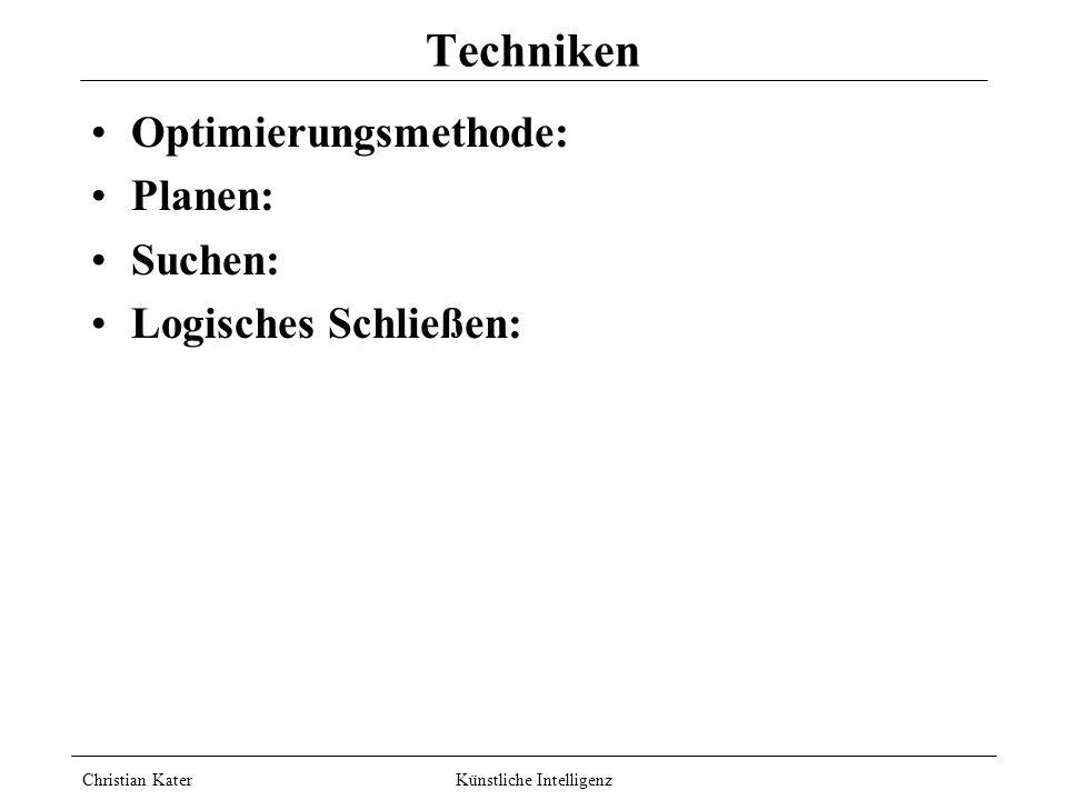 Techniken Optimierungsmethode: Planen: Suchen: Logisches Schließen: