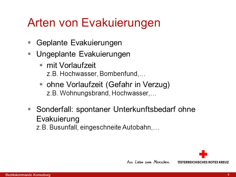 Arten von Evakuierungen