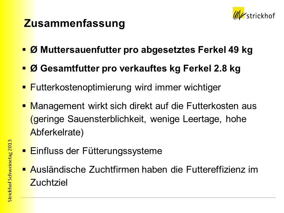 Zusammenfassung Ø Muttersauenfutter pro abgesetztes Ferkel 49 kg