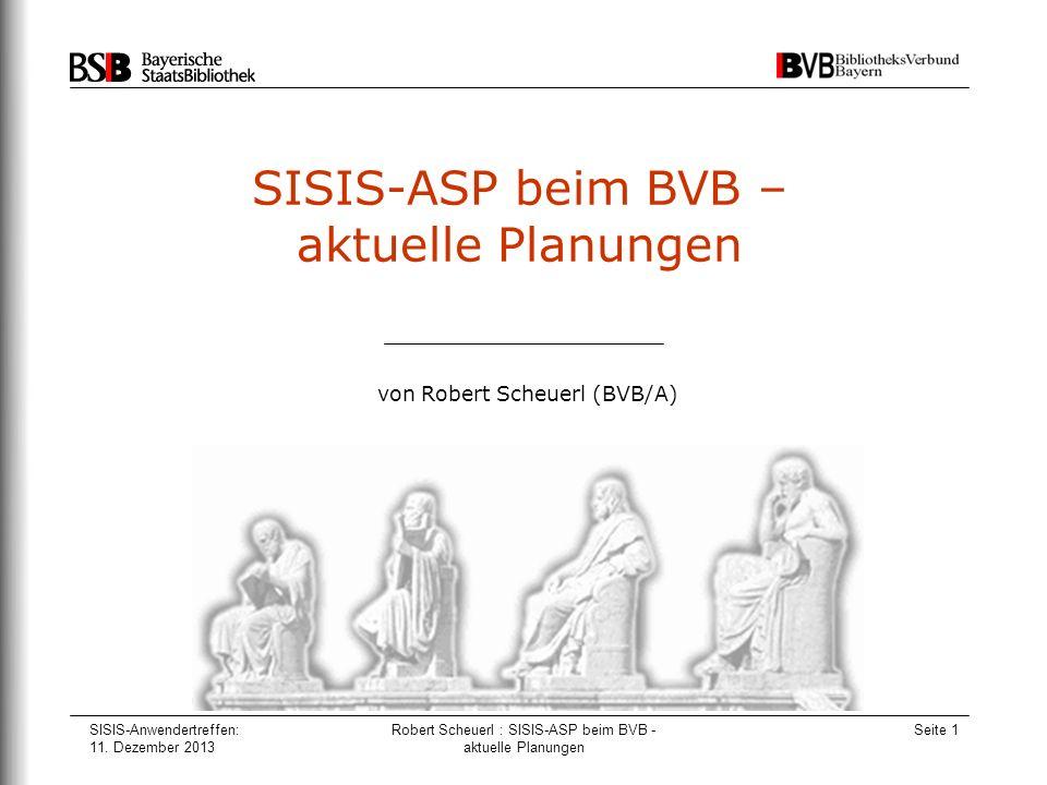 SISIS-ASP beim BVB – aktuelle Planungen