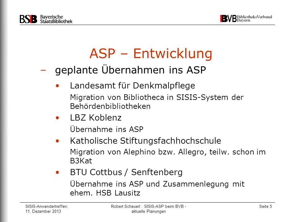 Robert Scheuerl : SISIS-ASP beim BVB - aktuelle Planungen