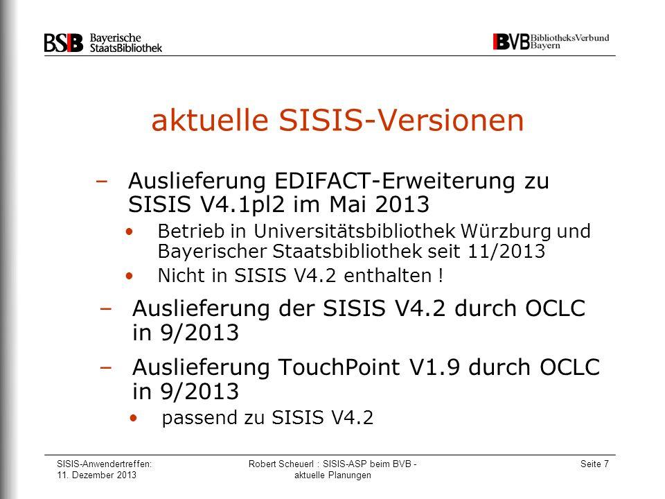 aktuelle SISIS-Versionen