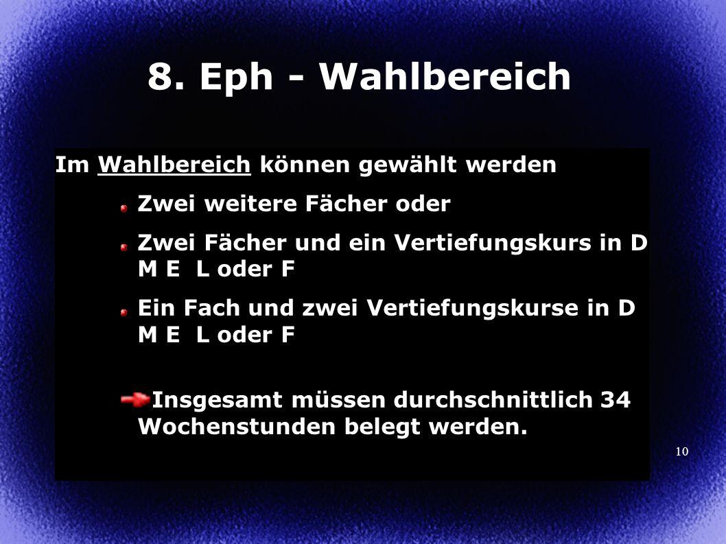 8. Eph - Wahlbereich Im Wahlbereich können gewählt werden